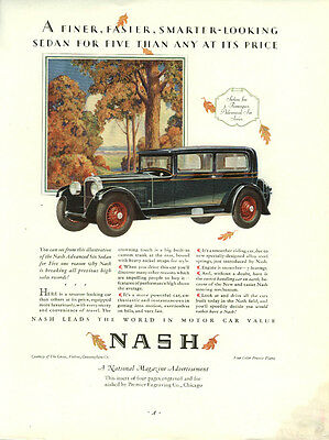 A finer faster smarter-looking sedan for five than any Nash Advanced Six ad 1928