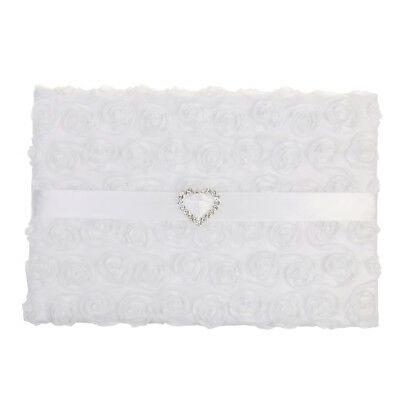 Chic White Wedding Guestbook Guest Register Comment Book with Heart Pattern
