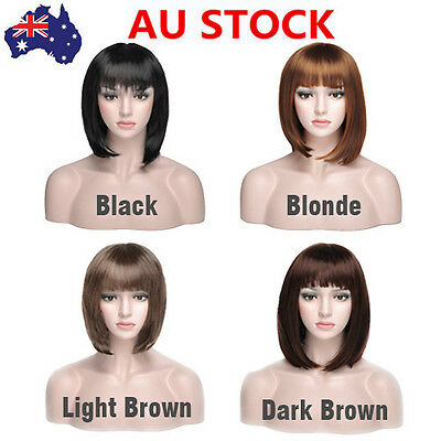 AU SHIP Women Girl Synthetic Bobo Short Straight Hair Cosplay Full Wigs +Wig Cap
