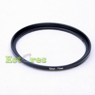 72mm-77mm 72-77 mm 72 to 77 Metal Step-Up Lens Filter Ring Adapter Black