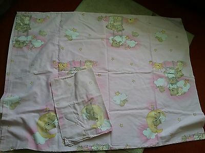 pink yellow white  cotton teddy bear cot bed duvet cover +pillowcase moon star