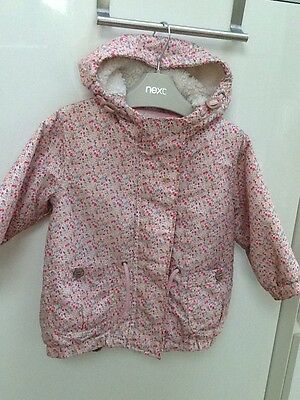 Next Girls Coat Size 12-18 Months Fur Lined With Hood Pink Floral