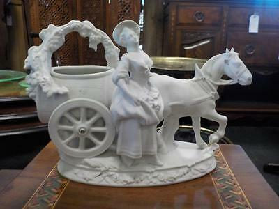 Antique / Vintage Bisque Girl Figure With Horse And Cart Germany 2564 C1900