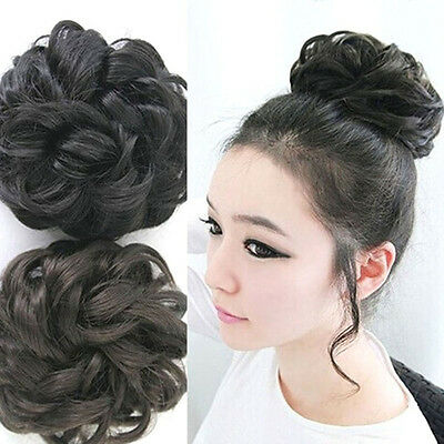Women Girls Cute Clip On Ponytail Wigs Curly 50%Human Hair New