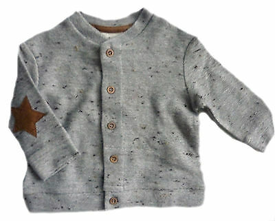 ZARA Baby Boy BEIGE Jersey STAR Faux Suede Patch Cardigan Jacket 3-6m £14.99