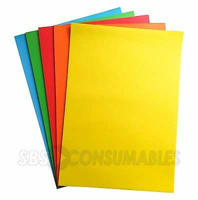100 Sheets - Lasercol A4 Premium Bright Rainbow Coloured 80gsm Craft Paper 48507