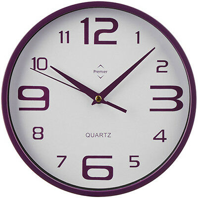 Purple & White -New Retro Round Wall Clock Big Numbers Kitchen Office Home Salon