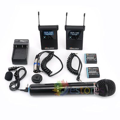 ROWA FC2410 Wireless Stereo Pro Interview Microphone Mic For Camera DV Camcorder