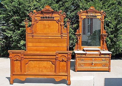 Phenomenal Aesthetic Victorian Burl Walnut 2 piece Bedroom Set Suite Circa 1875