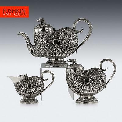 ANTIQUE 19thC INDIAN CUTCH SOLID SILVER 3 PIECE TEA SET c.1880