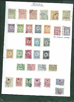 Turkey Ottoman Empire nice lot of 32 old used stamps on album page