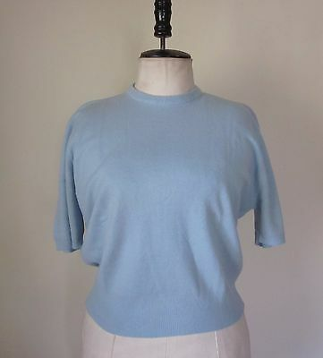 Vintage 1940s Powder Blue Knit Sweater Pin Up Bombshell Sz 40