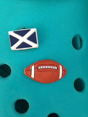 2 Scotland Rugby Shoe Charms For Crocs & Jibbitz Wristbands.