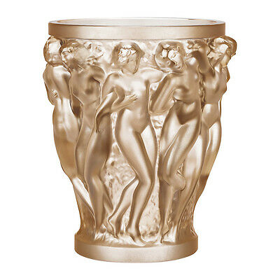 Lalique Bacchantes Vase Gold Luster Crystal Brand New In Box #10547600 Save$ F/s