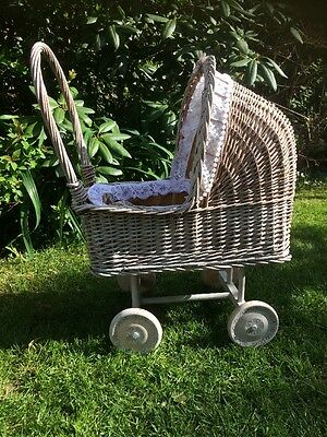 Vintage Wicker And Wooden Dolls Pram