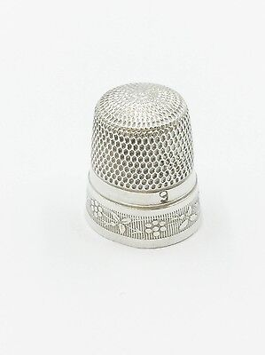 Sterling Silver 95 Vintage S Size 9 Engraved Flower Floral Design Sewing Thimble