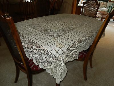"Beautiful Vintage Hand Crochet Oblong Ecru Tablecloth 60"" X 78"""