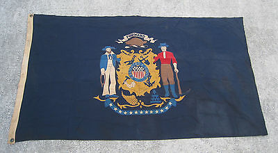 Late 1940's State of Wisconsin Flag 3' x 5' Bulldog Bunting Cotton RARE