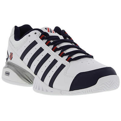 K Swiss Receiver III Omni Mens White Leather Tennis Shoes Trainers Size UK 10