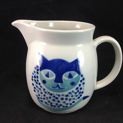 Arabia Finland Blue Cat Pitcher Holds 8 Cups