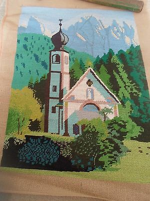 Fab Colourful Completed Handmade Tapestry SNOW CAPPED MOUNTAINS+CHURCH SCENE