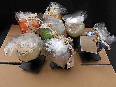 Wholesale Joblot of 7 Rustic Ball Candles With Metal Stands(LOT 87)