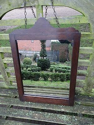 Antique Wooden Wall Hanging Mirror with Chain