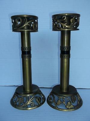 300 / Eye Catching Pair Of Antique Brass Candlesticks With Fruit Design