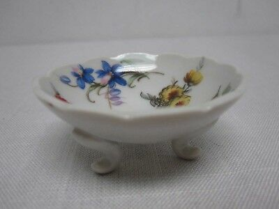 VINTAGE FRANCE LIMOGES FOOTED OPEN SALT CELLAR with PRETTY FLOWERS