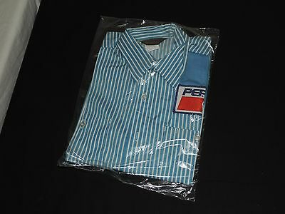 NEW 1980s PEPSI Cola Blue Pinstripe Delivery Truck Driver Uniform SHIRT M (e741)