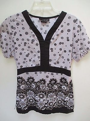 Women's Size Small Los Angeles Rose Floral Print Cotton Scrub Top - Gray