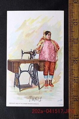 Victorian Trade Card Singer Sewing Machine TUNIS Lady in Traditional Clothes