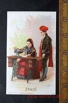 Antique Victorian Trade Card Singer Sewing Machine SPAIN Barcelona c.1892