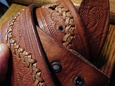 Vintage Tooled Leather Whip Stitched Brown Leather Western Belt 40