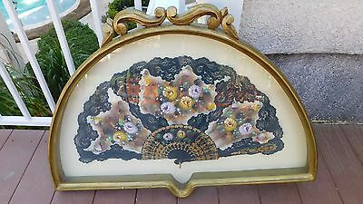 Antique Hand Fan Painted Flowers Lace Trim in Arched Wood Frame Black White Gold