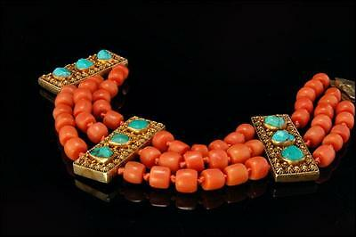 Rare Antique Chinese Salmon Coral Turquoise Gilt Silver Filigree Bracelet
