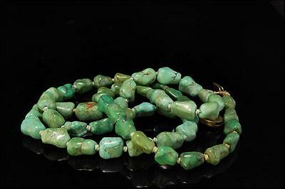 Antique Chinese Green Turquoise Beads Silver Necklace