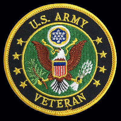 US Army Veteran  EMBROIDERED 3 inch IRON ON MILITARY PATCH