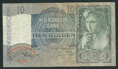 "Netherland 1943 Ten Gulden Banknote ""ww Ii"" B1070 Low Price & $1.00 Usa Ship"