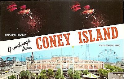Greetings Coney Island Ferris Wheel -  Brooklyn New York City NY Chrome Postcard