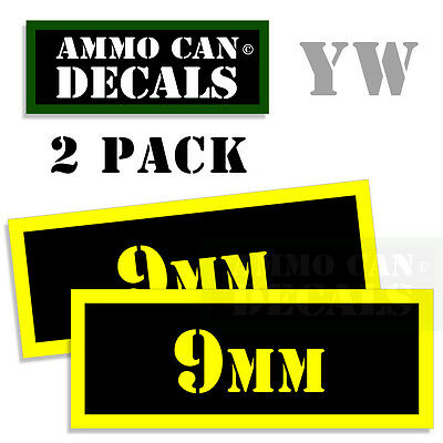 9MM Ammo Can Box Decal Sticker bullet ARMY Gun safety Hunting 2 pack YW