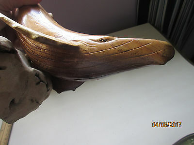 Hand Carved Wood Humpback Whale -  Beautiful Grains - Very Nice 12 X 8 Inches