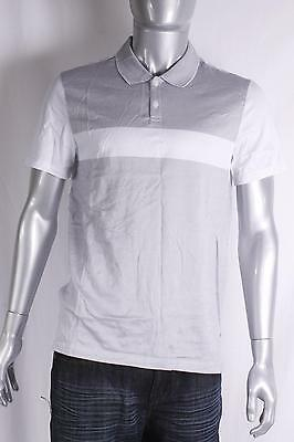 $69 Calvin Klein Men's Slim-Fit Coloblocked Polo Shirt L Large White/Gray NEW