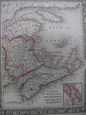 Orig Color Map 1860 Nova Scotia New Brunswick Cape Breton Pr Edward Halifax