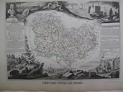 Handcolored Map ca. 1860 French Nord Flanders  National  Atlas France Levasseur