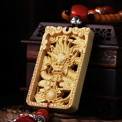 Hollow-cut Wood Carved Chinese Geomancy Dragon Statue Double Sides Car Pendant
