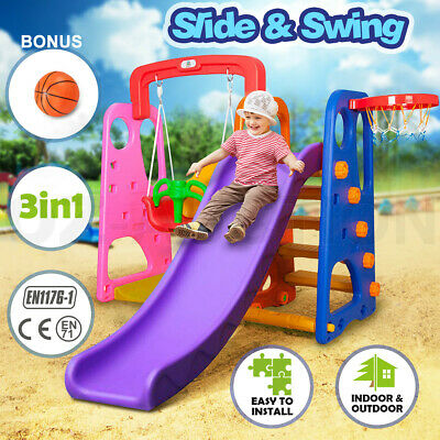 3 in 1 Colorful Kids Outdoor Fun Play Swing and Slide Basketball Activity Center