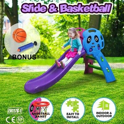 Kids Play Slide Toddler Set Basketball Hoop Toy Indoor Outdoor Activity Center