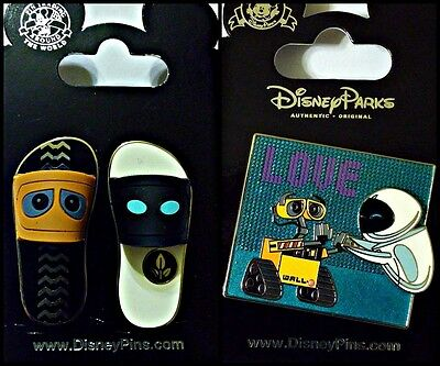 Disney Parks 3 Pin Lot Wall-E and Eve set of 2 + Love