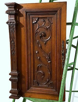 CABINET DOOR PANEL SOLID ANTIQUE FRENCH GOTHIC CARVED WOOD SALVAGED CARVING a